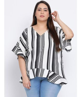 Stripe Monology Plus Size Women Tunic