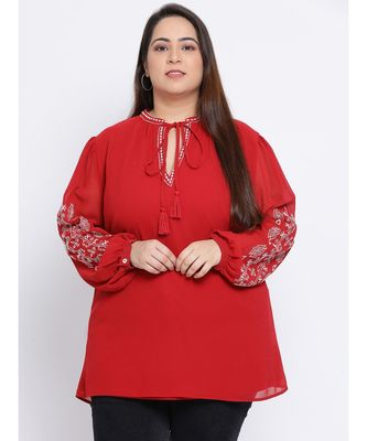 Fiery Diva Embroidered Plus Size Women Tunic
