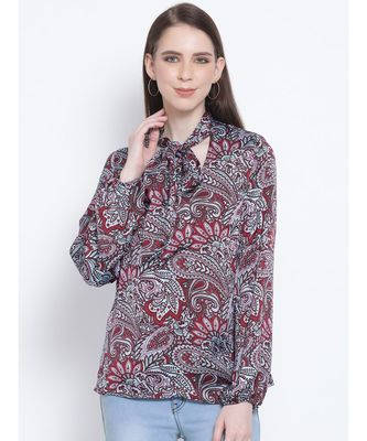Paisley Maria Style Collar Women Tie Top