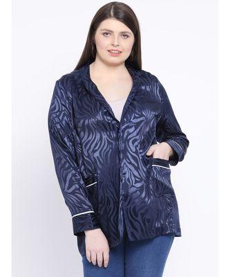 Navy Spiral Women Plus Size Blazer
