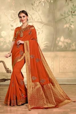Indian Women Orange Poly Silk Embroidered with jaqcard Pallu Heavy Work Saree