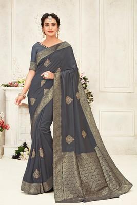 Indian Women Grey Poly Silk Embroidery work with Jacqard pallu Designer Saree
