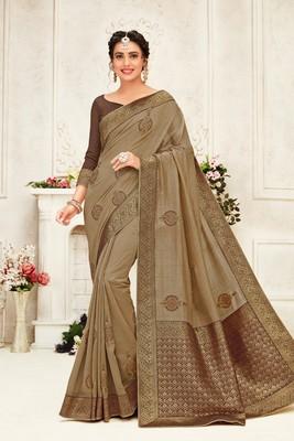 Indian Women Brown Poly Silk Embroidery work with Jacqard pallu Designer Saree