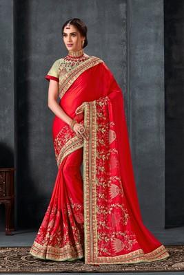 Indian Women Red Poly Silk Heavy Embroidered Work Designer Saree