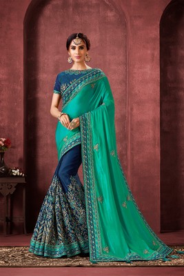 Indian Women Green and blue Poly Silk Heavy Embroidered Work Designer Saree
