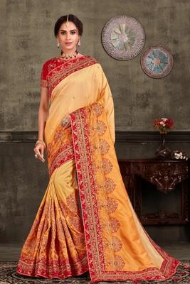 Indian Women Yellow Poly Silk Heavy Embroidered Work Designer Saree