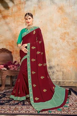 Indian Women Maroon Poly Silk Embroidered work Designer Saree