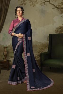 Indian Women Navy Blue Poly Silk Embroidered work Designer Saree