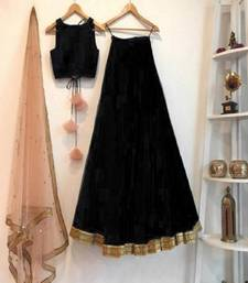 Black plain art silk semi stitched lehenga
