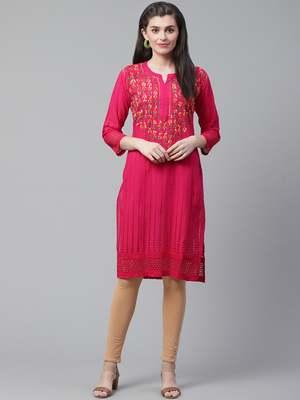 Dark-pink embroidered cotton chikankari-kurtis