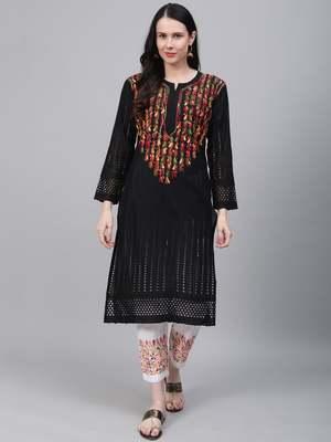 Black embroidered cotton chikankari-kurtis