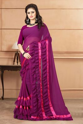Purple plain georgette saree with blouse