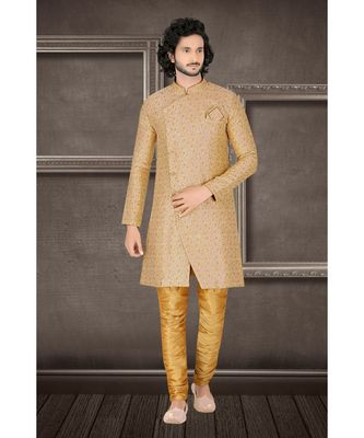 Fashion Curries Mens woven fawn jacquard angarakha  cut  indowestern  with elegant golden buttons