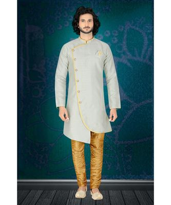 Fashion Curries Mens Woven light blue jacquard angarakha  cut  indowestern  with elegant golden buttons and fancy pocket