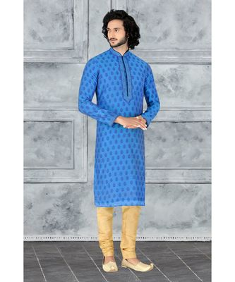 Fashion Curries Mens blue booti block printed kora with cording on the jabbapatti and collar