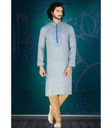 Fashion Curries Mens blue w0ven jacqurd kirta set with fancy jabbapatti and gundi buttons