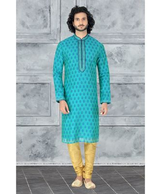 Fashion Curries Mens green  booti block printed kora with cording on the jabbapatti and collar