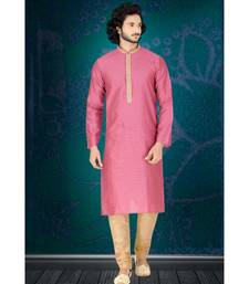 Fashion Curries Mens pink jacquard   kurta set with  contrast machine  embroidered jabba patti and collar