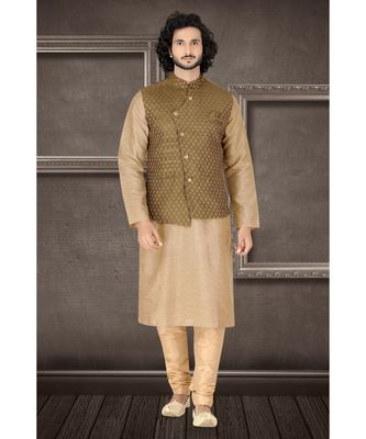 Fashion Curries Mens fawn polysilk kurta set with green  woven jacquard  jacket with stone buttons