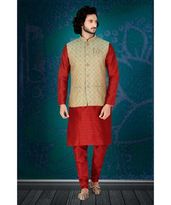 Fashion Curries Mens reddish maroon  polysilk kurta set with green  woven jacquard  jacket with stone buttons