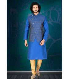 Fashion Curries Mens blue  kurta set with blue woven jacket with stone buttons