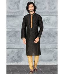 Fashion Curries Mens black  self striped kurta with woven jabbapattii and gundi buttons and cording on the collar