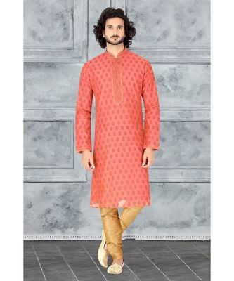 Fashion Curries Mens rust  booti block printed kora with cording on the jabbapatti and collar