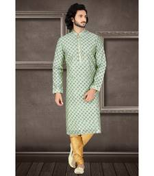 Fashion Curries Mens light green  booti block printed kora with cording on the jabbapatti and collar and sleeves