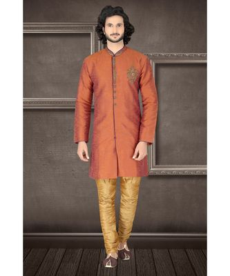 blended raw silk Rust plain semi indowestern with hand work in the front as a booti and collar with embroidered buttons