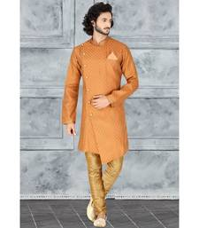 Mens rust  jacquard angarakha  cut  indowestern  with elegant golden buttons and self cording on the collar and pocket