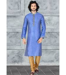 Mens blue jacquard   kurta set with machine embroidred jabba  patti annd  cording on  collar with gundi buttons