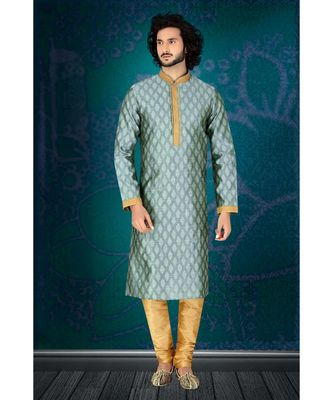green   jaqurd kurta set with  red  running stich embroidery on jabbapatti and collar  and sleeveswith gundi buttons