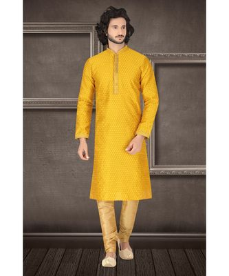 Mens mustard jacquard kurta set with fancy jabbapatti and coring on collar and sleeves with golden gundi buttons