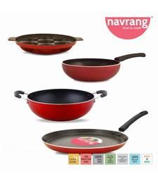 Nonstick Aluminium 4 PC Cookware Set ,Tawa 260+Kadai 230 + fry Pan 200 + Appakara 7 Kulies Without Handle,Red
