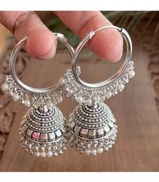 BEAUTIFUL SILVER TONE HOOP JHUMKKA - DJ05495