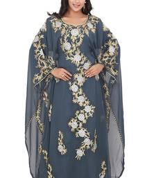 Grey georgette moroccan islamic dubai kaftan abaya farasha aari and stone work dress
