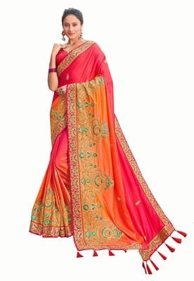 Bridal Designer party wear Heavy embroidery border work  attractive saree