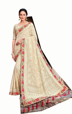 Bridal Designer party wear Heavy embroidery border work  attractive chikankari  saree