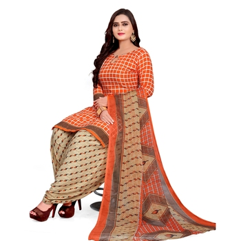 Orange floral print crepe salwar