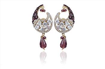 Indian Fashion Women Elegant Purple earrings