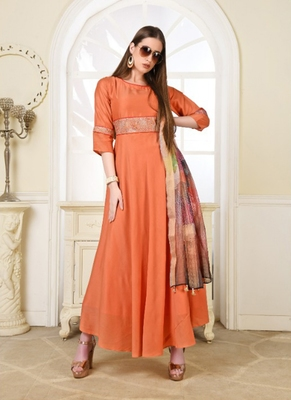 Orange embroidered polyester long-kurtis