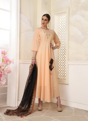 Cream embroidered polyester long-kurtis
