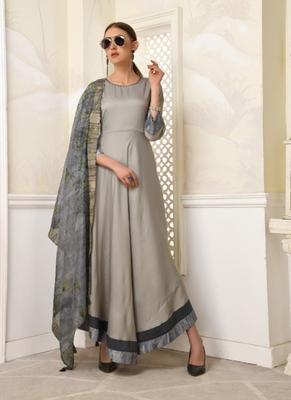 Grey embroidered polyester long-kurtis