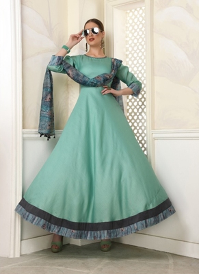 Turquoise embroidered polyester long-kurtis