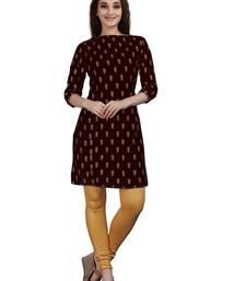 SWAGG INDIA Women's Wear Velvet Maroon Color Straight Kurti Kurta With Leggings