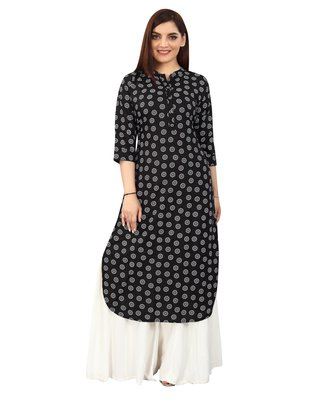 Black printed rayon kurtas-and-kurtis