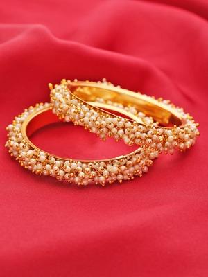 Designer Golden Bunched Pearl Bridal Wedding Bangle Set