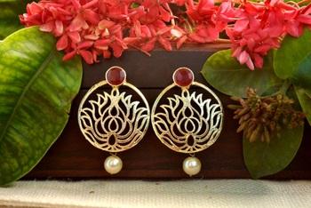 Designer maroon stone lotus floral motif danglers-drops stud earrings