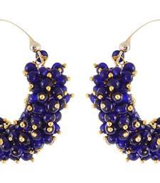 Designer Blue Bunched Pearls hoops Dangler Earrings