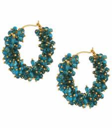 Designer Turquoise bunched pearls hoops dangler earrings
